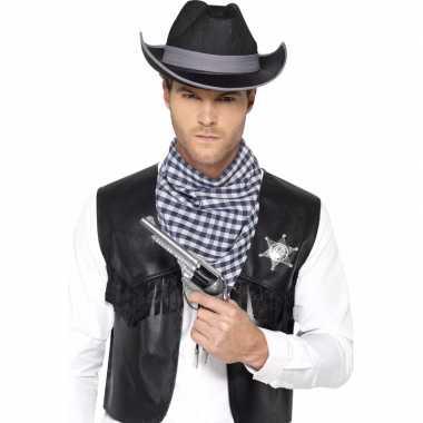 Goedkoop zwarte cowboy verkleedaccessoires set heren carnavalskleding