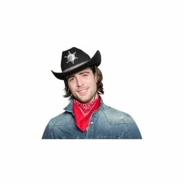 Goedkoop zwarte cowgirlhoed / cowboyhoed sheriff ster carnavalskledin