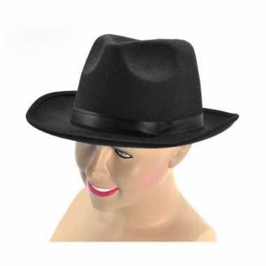 Goedkoop zwarte gangster hoed band carnavalskleding