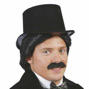 Goedkoop zwarte hoge hoed plastic carnavalskleding