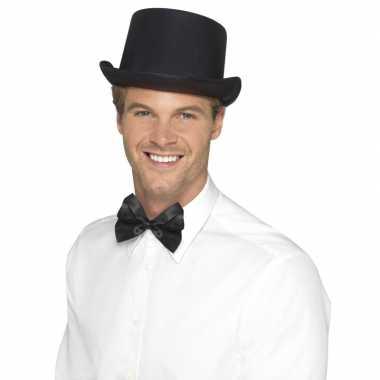 Goedkoop zwarte hoge hoed satijn look mannen carnavalskleding
