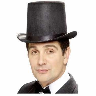 Goedkoop zwarte hoge hoed vilt mannen carnavalskleding