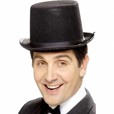 Goedkoop zwarte hoge hoeden vilt mannen carnavalskleding