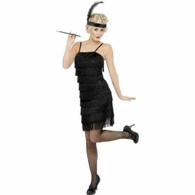 Goedkoop zwarte jaren flapper jurk dames carnavalskleding