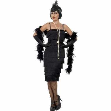 Goedkoop zwarte jaren flapper jurk lang dames carnavalskleding