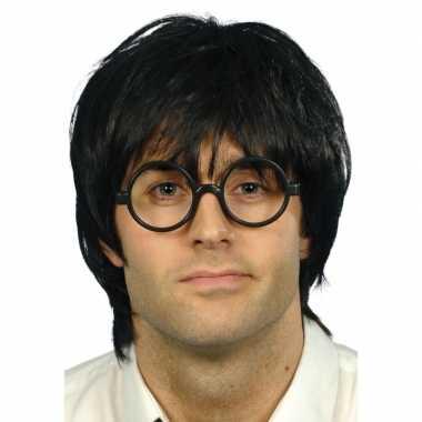Goedkoop zwarte nerd pruik zwarte bril carnavalskleding