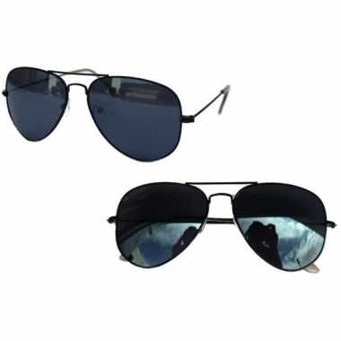 Goedkoop zwarte pilotenbril dames/heren carnavalskleding