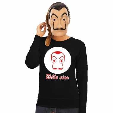 Goedkoop zwarte salvador dali sweater la casa papel masker dames carn