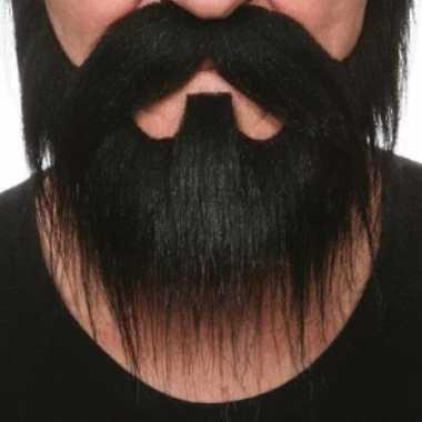 Goedkoop  Zwarte snor vlassige baard carnavalskleding