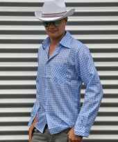 Goedkoop blauw geruit cowboy overhemd heren carnavalskleding