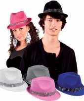 Goedkoop blauw popster hoedje studs carnavalskleding