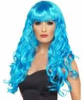Goedkoop blauwe feestpruik dames carnavalskleding