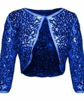 Goedkoop blauwe glitter pailletten disco bolero jasje dames carnavalskleding