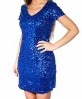 Goedkoop blauwe glitter pailletten disco jurkje dames carnavalskleding