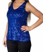 Goedkoop blauwe glitter pailletten disco topje mouwloos shirt dames carnavalskleding