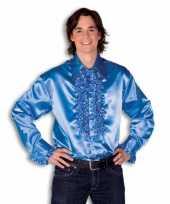 Goedkoop blouse blauw rouches heren carnavalskleding