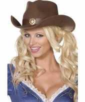 Goedkoop bruine cowboy hoed volwassenen carnavalskleding