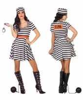 Goedkoop carnaval feest boeven gevangenen bonnie verkleedcarnavalskleding jurkje dames