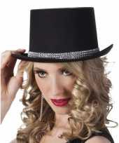 Goedkoop carnavalshoed zwart zilveren steentjes dames carnavalskleding