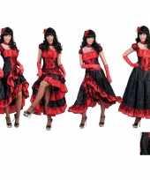 Goedkoop carnavalskleding dansjurk rood zwart