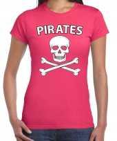 Goedkoop carnavalskleding fout piraten shirt roze dames