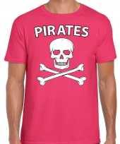 Goedkoop carnavalskleding fout piraten shirt roze heren