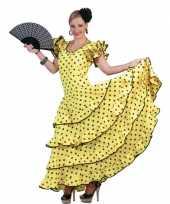 Goedkoop carnavalskleding gele flamenco jurk
