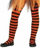 Goedkoop carnavalskleding halloween oranje zwarte heksen panties maillots verkleedaccessoire meisjes