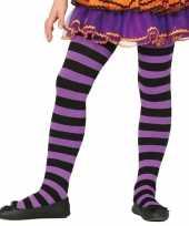 Goedkoop carnavalskleding halloween paars zwarte heksen panties maillots verkleedaccessoire meisjes 10134486