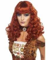 Goedkoop dames pruik rood bruin carnavalskleding