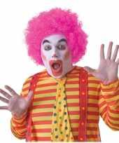 Goedkoop feest roze krullen afro pruik volwassenen carnavalskleding