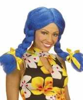 Goedkoop fel gekleurde blauwe dolly pruik carnavalskleding
