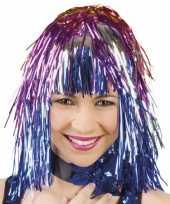 Goedkoop funpruik gekleurde folie carnavalskleding