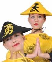 Goedkoop gele chinese verkleedhoed volwassenen carnavalskleding