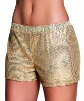 Goedkoop gouden dames hotpants pailletten carnavalskleding