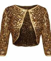 Goedkoop gouden glitter pailletten disco bolero jasje dames carnavalskleding