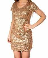 Goedkoop gouden glitter pailletten disco jurkje dames carnavalskleding