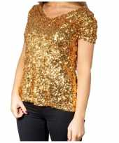 Goedkoop gouden glitter pailletten disco shirt dames carnavalskleding