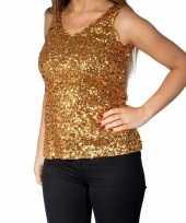 Goedkoop gouden glitter pailletten disco topje mouwloos shirt dames carnavalskleding