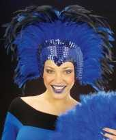 Goedkoop grote luxe hoofdtooi veren blauw carnavalskleding