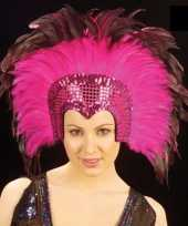 Goedkoop grote luxe hoofdtooi veren roze carnavalskleding