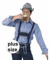 Goedkoop grote maat carnavalskleding blauw witte overhemd heren