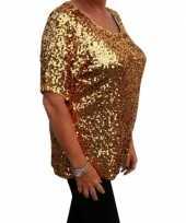 Goedkoop grote maten gouden glitter pailletten disco shirt dames xl carnavalskleding