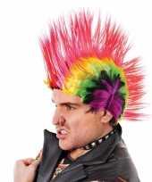 Goedkoop hanekam pruiken felle kleuren carnavalskleding