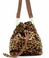 Goedkoop hip schoudertasje bruin zwart luipaardprint panterprint dierenprint pu nepleer carnavalskle