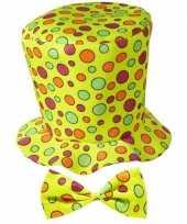 Goedkoop hoge clownshoed stippen carnavalskleding 10069810