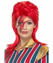 Goedkoop jaren popster pruik rood david carnavalskleding