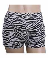 Goedkoop katoenen zebra hotpants hoge taille carnavalskleding