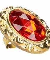 Goedkoop koning koningin carnaval ring grote rode diamant carnavalskleding