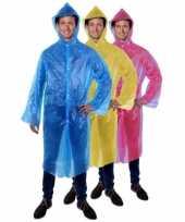 Goedkoop lange regenjas poncho festival blauw carnavalskleding